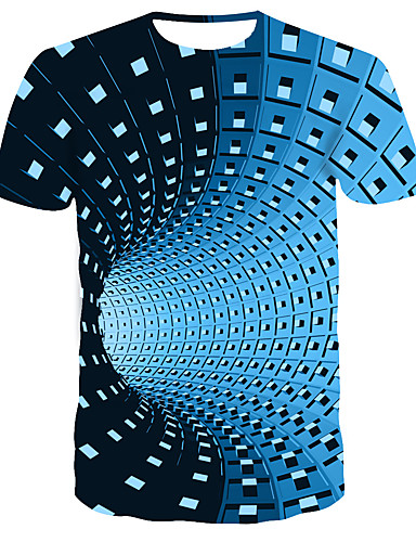voordelige Heren T-shirts & tanktops-Heren Street chic / Punk & Gothic Print T-shirt Gestreept / Kleurenblok Ronde hals blauw / Korte mouw
