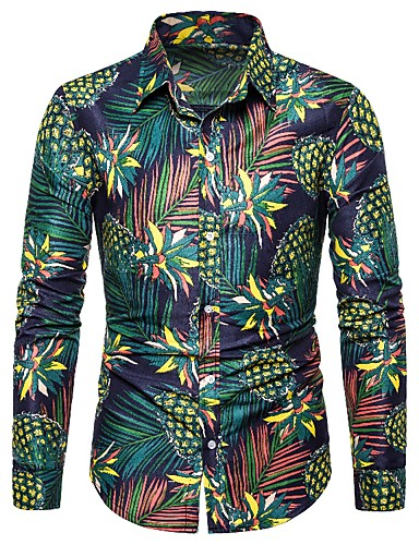 cheap Men's Shirts-Men's Daily Casual Vintage / Street chic Shirt - Floral / Geometric / Graphic Print Green US38 / UK38 / EU46