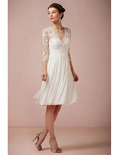 abordables robe mariage civil-Trapèze Col en V Mi-long Dentelle Robes de mariée sur mesure avec par LAN TING Express