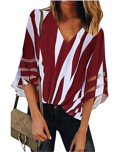 billige Topper til damer-Bomull V-hals Skjorte Dame - Stripet, Lapper Gatemote Rosa