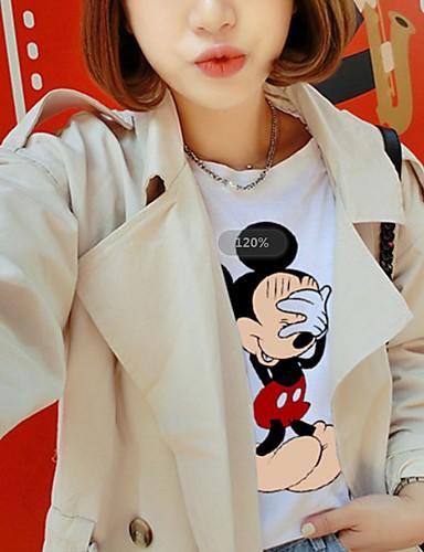 billige Dametopper-T-skjorte Dame - Tegneserie Grunnleggende Hvit