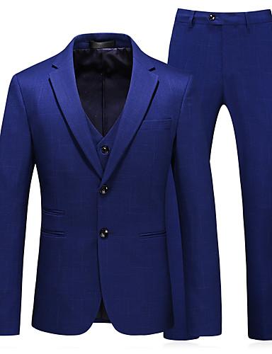 voordelige Herenblazers & kostuums-Heren Pakken, Effen Ingesneden revers Polyester blauw / Slank