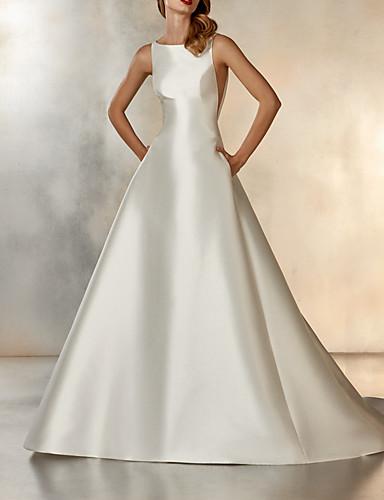 abordables robe mariage civil-Trapèze Bijoux Traîne Brosse Satin Robes de mariée sur mesure avec Détail Cristal par LAN TING Express