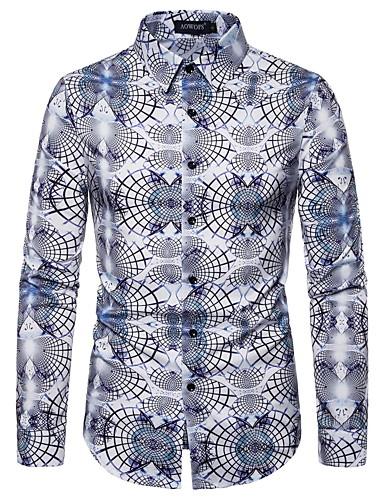 Erkek Gömlek Desen, 3D Temel AB / ABD Beden Siyah ve Beyaz Beyaz / Uzun Kollu