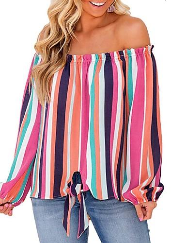 povoljno Ženske majice-Tunika Žene - Elegantno Dnevno Color block Otvorena leđa / Vezanje straga Bijela