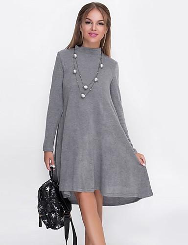 Kadın's Temel Zarif A Şekilli Kılıf Elbise - Solid Asimetrik