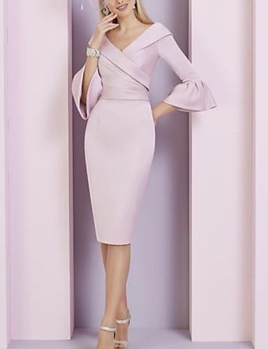 voordelige Korte jurken-Strak / kolom V-hals Tot de knie Stretchsatijn Bruidsmoederjurken met Ruches door LAN TING Express