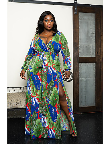 voordelige Maxi-jurken-Dames Street chic Elegant Wijd uitlopend Jurk - Bloemen Geometrisch Kleurenblok, Split Veters Print Maxi Blauw