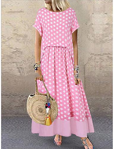 abordables Robes à points Polka-Femme Maxi Mince Gaine Robe Points Polka Noir Rose Claire Vert M L XL Manches Courtes