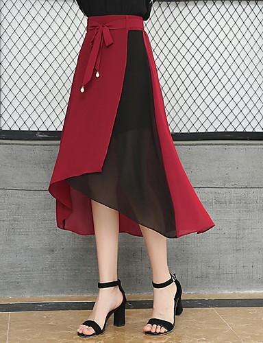abordables Jupes-Femme Chic de Rue Trapèze Jupes - Couleur Pleine Noir Rouge S M L