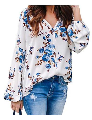 povoljno Ženske majice-Bluza Žene Dnevno Cvjetni print Plava