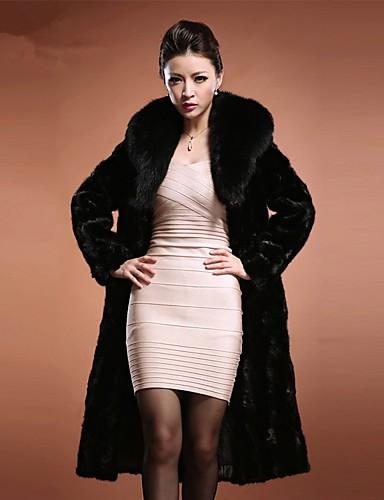 voordelige Damesjassen & trenchcoats-Dames dagelijkse basic herfst en winter lange faux fur jas, effen gekleurde stand lange mouw faux fur bont trim zwart