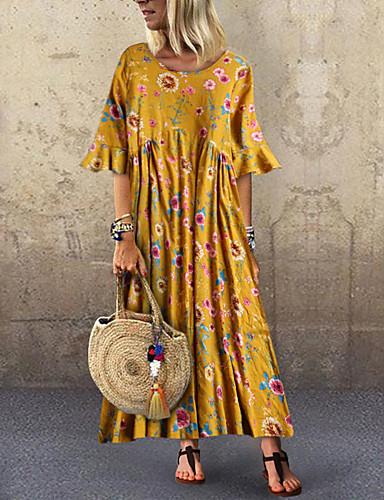 voordelige Maxi-jurken-Dames Standaard Boho Wijd uitlopend Jurk - Bloemen, Met ruches Patchwork Print Midi Tropisch blad