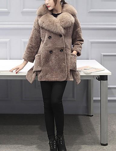 billige Ytterklær til damer-Dame Daglig Grunnleggende Normal Faux Fur Coat, Ensfarget Rullekrage Langermet Fuskepels Militærgrønn / Kamel XS / S / M