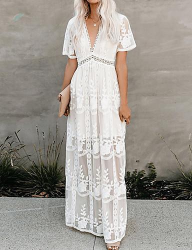 cheap Autumn New Outfits-Women's Swing Dress - Floral White S M L XL