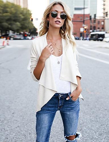 Kadın's Günlük Temel Sonbahar Kış Normal Ceketler, Solid Şal Yaka 3/4 Kol Polyester Siyah / Beyaz / Gri S / M / L