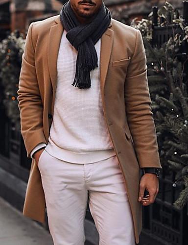 cheap 8/16-Men's Daily Spring &  Fall Long Jacket, Solid Colored Notch Lapel Long Sleeve Polyester Khaki US36 / UK36 / EU44 / US38 / UK38 / EU46 / US40 / UK40 / EU48