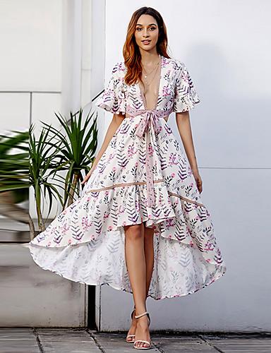 billige Kjoler-Dame Grunnleggende Skjede Chiffon Kjole - Blomstret, Delt Lapper Trykt mønster Asymmetrisk