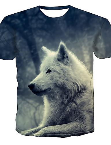 hesapli Erkek Tişörtleri ve Atletleri-Erkek Tişört Desen, Zıt Renkli / Hayvan Sokak Şıklığı / Punk ve Gotik Gri