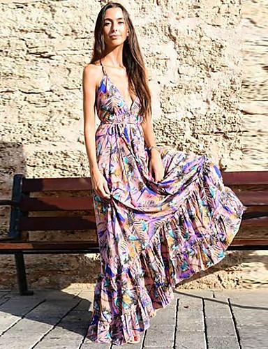 voordelige Maxi-jurken-Dames Schede Jurk - Bloemen, Veters Patchwork Maxi