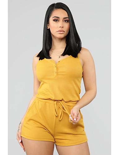 Χαμηλού Κόστους Γυναικείες Μπλούζες-Γυναικεία Ενεργό Μαύρο Κίτρινο Ολόσωμα, Μονόχρωμο Τ M L