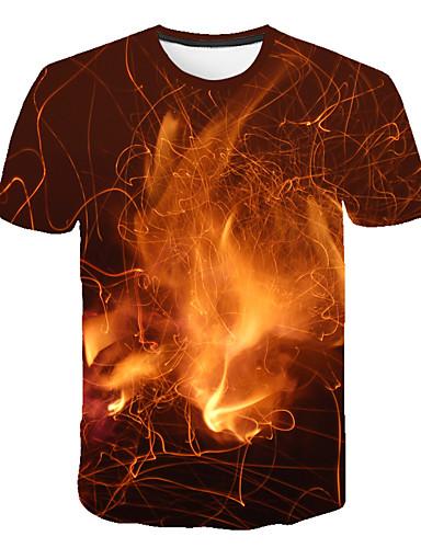 Erkek Tişört Desen, Zıt Renkli / 3D / Grafik Sokak Şıklığı / Abartılı Turuncu