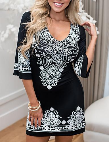 abordables Robes Femme-Femme Mini Moulante Robe Fleur Noir S M L Manches 3/4