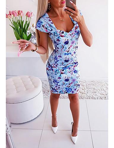 abordables Robes Femme-Femme Basique Au dessus du genou Gaine Robe - Imprimé, Camouflage Bleu S M L Manches Courtes