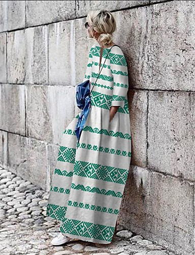voordelige Maxi-jurken-Dames Standaard Boho Recht Wijd uitlopend Jurk - Geometrisch Abstract, Met ruches Patchwork Print Maxi