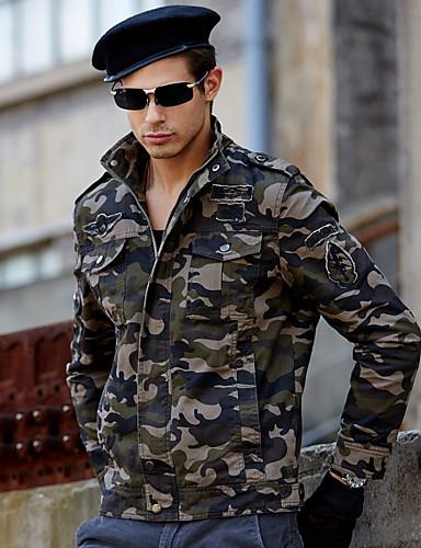 Erkek Günlük / Spor Askeri İlkbahar & Kış Normal Ceketler, Solid Aşağı Dönük Uzun Kollu Pamuklu Ordu Yeşili / Haki M / L / XL