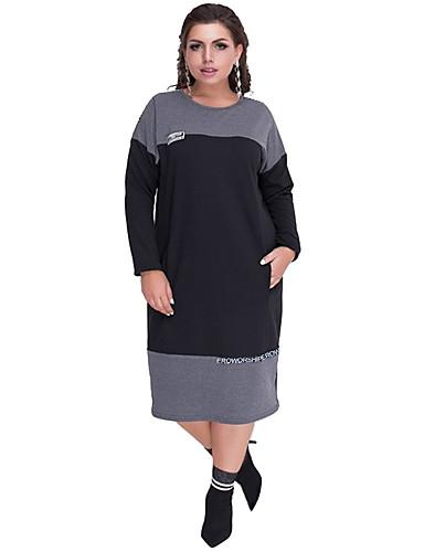 voordelige Grote maten jurken-Dames Standaard Recht Jurk - Kleurenblok Midi