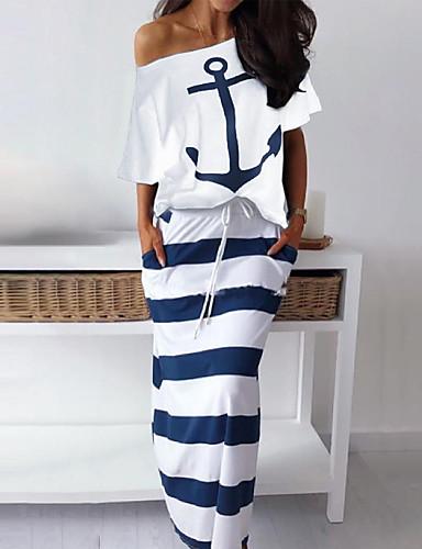 abordables Robes Femme-Femme Simple Robe - Imprimé, Rayé Epaules Dénudées Eté Blanche Bleu S M L Manches Courtes