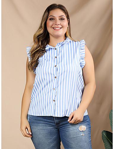 billige Topper til damer-Skjorte Dame - Stripet Lyseblå