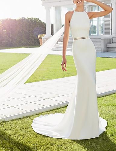 billige Bryllupskjoler 2019-Tube / kolonne Grime Svøpeslep Sateng Made-To-Measure Brudekjoler med Perlearbeid av LAN TING Express
