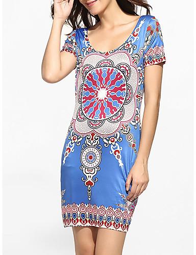 abordables Robes Femme-Femme Elégant Au dessus du genou Moulante Robe - Imprimé, Tartan Bleu S M L Manches Courtes