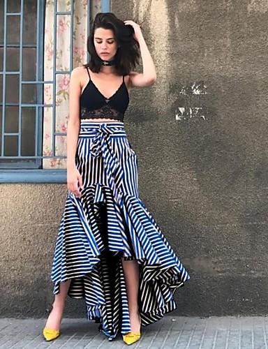 billige Skjørt-Dame Chic & Moderne Asymmetrisk Havfrue Skjørt Stripet Blå S M L