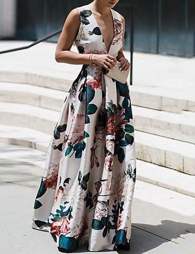 voordelige Maxi-jurken-Dames Standaard Schede Jurk - Bloemen, Print Diepe V-hals Maxi
