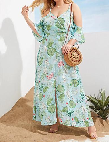 voordelige Grote maten jurken-Dames Boho Street chic Schede Skater Jurk - Bloemen, Split Maxi Tropisch blad