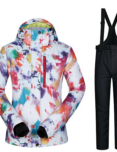 billige Ski og snowboard-MUTUSNOW Dame Skijakke og bukser Vanntett Vindtett Varm Ski Snowboarding Vintersport Polyester Treningsdrakt Skiklær