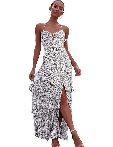 voordelige Maxi-jurken-Dames Standaard Schede Jurk - Polka dot, Ruche Print Maxi Wit
