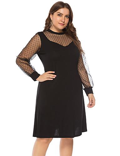 voordelige Grote maten jurken-Dames Grote maten Standaard A-lijn Klein en zwart Jurk - Effen, Netstof Patchwork  V-hals Tot de knie