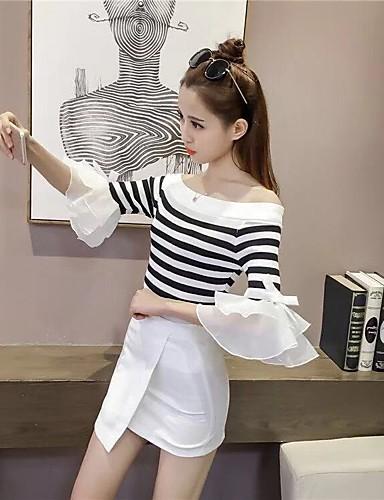 billige Dametopper-Dame Stripet Kort Erme Pullover, Løse skuldre Hvit En Størrelse