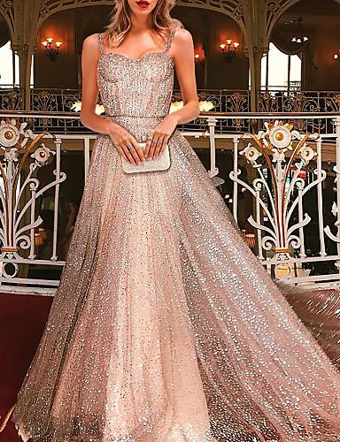 voordelige Maxi-jurken-Dames Boho Elegant Wijd uitlopend Jurk - Effen, Blote rug Netstof Patchwork Maxi