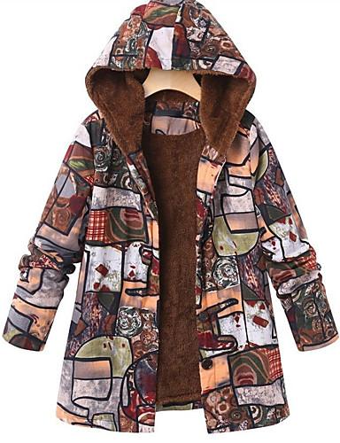voordelige Damesjassen & trenchcoats-Dames Dagelijks Street chic Winter Normaal Jas, camouflage Capuchon Lange mouw Polyester Patchwork Rood / Grijs