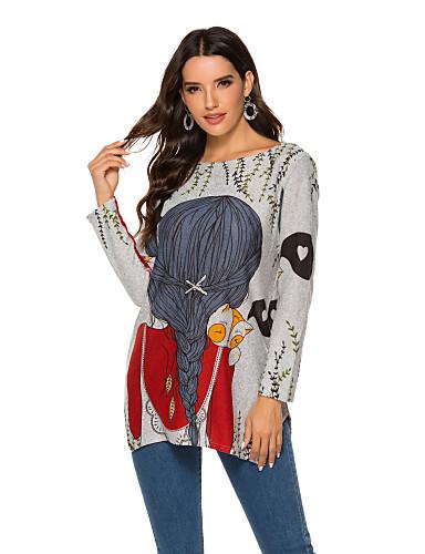 povoljno Ženske majice-Žene Sažetak Dugih rukava Pullover, Okrugli izrez Proljeće / Jesen Plava / Red M / L / XL