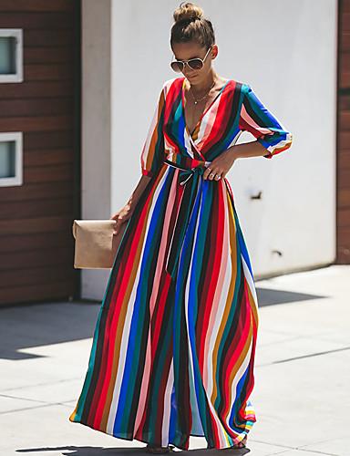 Kadın's Sokak Şıklığı Zarif Kılıf Çan Elbise - Çizgili Zıt Renkli, Bağcık Kırk Yama Maksi Mavi & Beyaz
