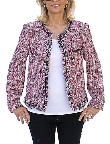 billige Ytterklær til damer-Dame Blazer V-hals Polyester Lyseblå