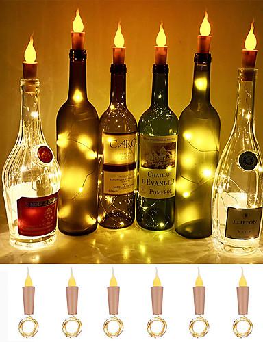billige Belysning-loende flamme korkformede lys 6-pak brannflaskeflasker lyser batteridrevne levende lys for vinflasker