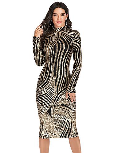 economico Vestiti da donna-Per donna sofisticato Elegante Attillato Fodero Vestito - Con lustrini, Tinta unita Medio