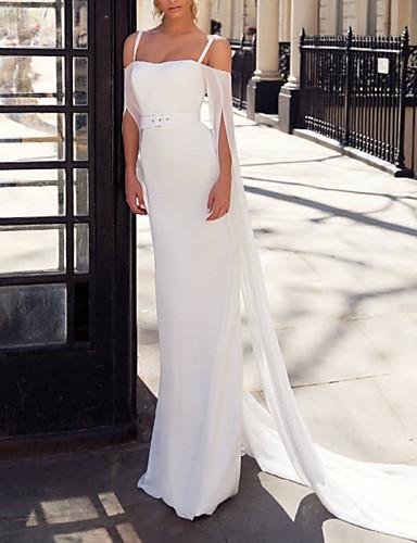 abordables Robes de Mariée 2019-Fourreau / Colonne Epaules Dénudées Traîne Brosse Satin Robes de mariée sur mesure avec Ceinture en étoffe par LAN TING Express